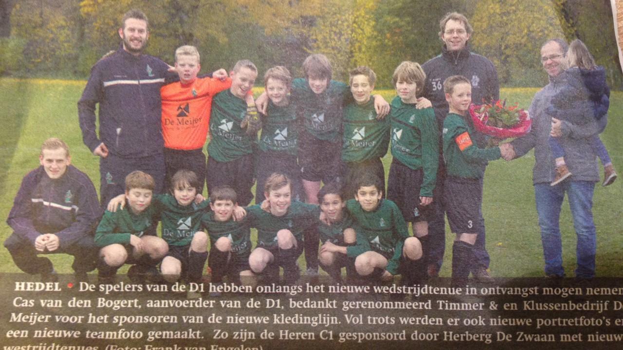 De Meijer sponsort D1 van VV Hedel - De Meijer Timmer- en Klussenbedrijf